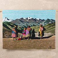 Wool tapestry, 'Travelers from Puno' - Hand Crafted Cultural Wool Tapestry