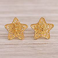Gold plated sterling silver filigree button earrings, 'Classical Stars' - 24k Gold Plated Sterling Silver Filigree Star Earrings
