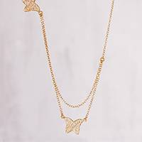 Gold plated sterling silver filigree pendant necklace, 'Glistening Butterflies' - 24k Gold Plated Sterling Silver Filigree Butterfly Necklace