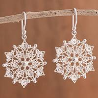 Sterling silver filigree dangle earrings, 'Gleaming Mandalas' - Sterling Silver Filigree Mandala Dangle Earrings from Peru