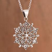 Sterling silver filigree pendant necklace, 'Dark Mandala' - Dark Sterling Silver Filigree Mandala Necklace from Peru