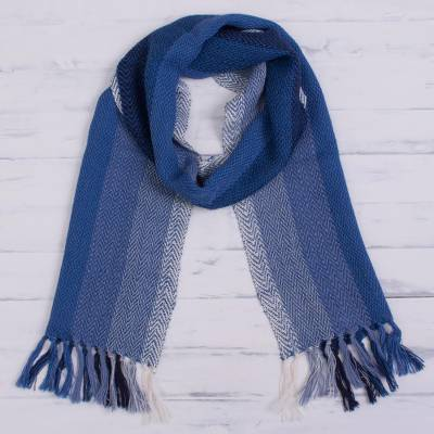 100% alpaca scarf, 'Andean Ombre in Blue' - Striped 100% Alpaca Scarf in Blue from Peru