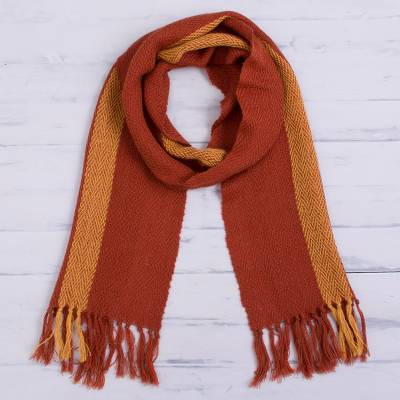 100% alpaca scarf, 'Andean Fire' - 100% Alpaca Scarf in Pumpkin and Saffron from Peru
