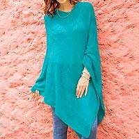 Knit poncho, 'Teal Zigzags' - Knit Poncho with Zigzag Patterns in Teal from Peru