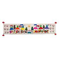 Cotton table runner, 'Andean Market' - Cultural Cotton Arpillera Table Runner from Peru