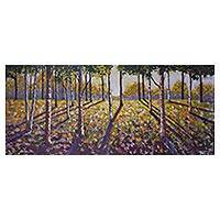 'Nostalgia Lives in Me' - Signed Impressionist Landscape Painting in the Forest