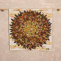 Wool tapestry, 'Autumn Leaf Fall' - Handwoven Autumn-Themed Wool Tapestry from Peru