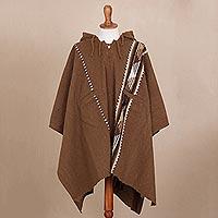 Alpaca and wool blend hooded poncho,