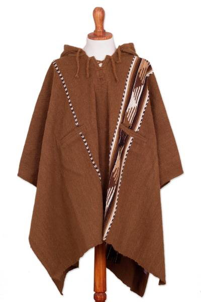 Handwoven Alpaca and Wool Blend Poncho from Peru