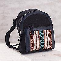 Suede and alpaca backpack, 'Cuzco Traveler' - Suede and 100% Alpaca Backpack from Peru