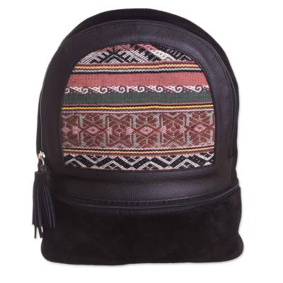 Black Suede and 100% Alpaca Backpack from Peru