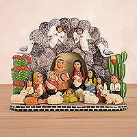 Ceramic nativity sculpture, 'Grotto of the Andes' - Handcrafted Ceramic Nativity Scene Sculpture from Peru