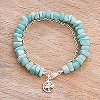 Amazonite beaded bracelet, 'Tree Charm' - Amazonite Beaded Tree Bracelet from Peru