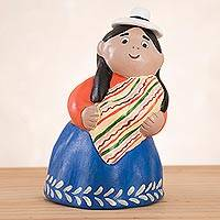 Ceramic figurine, 'Mother from the Andes' - Ceramic Figurine of an Andean Mother from Peru