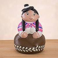 Ceramic figurine, 'Happy Day in the Andes' - Hand-Painted Ceramic Figurines of an Andean Woman from Peru