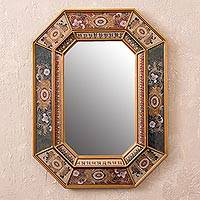 Reverse painted glass wall mirror, 'Gaze' - Floral Reverse Painted Glass Frame Octagonal Wall Mirror
