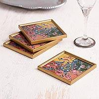 Reverse-painted glass coasters, 'Artisanal Color' (set of 4) - Colorful Reverse-Painted Glass Coasters from Peru (Set of 4)