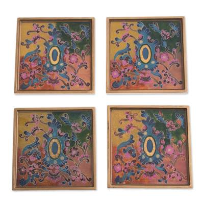 Colorful Reverse-Painted Glass Coasters from Peru (Set of 4)