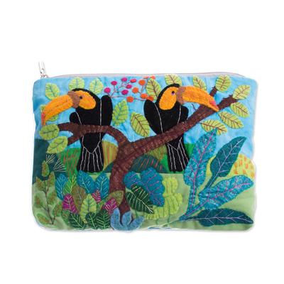 Toucan-Themed Cotton Blend Arpillera Clutch from Peru