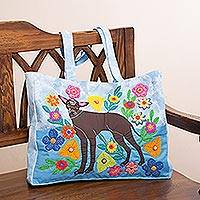 Cotton blend tote, 'Peruvian Dog' - Dog-Themed Cotton Blend Arpilleria Tote from Peru