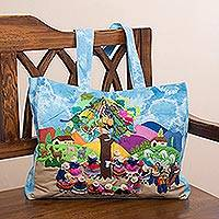 Cotton blend tote, 'Yunza Carnival' - Cultural Cotton Blend Arpilleria Patchwork Tote from Peru
