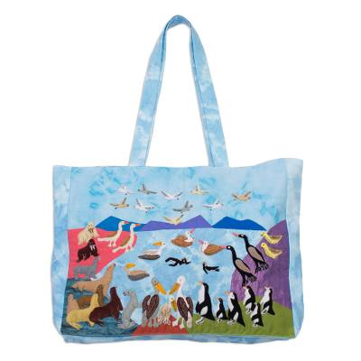 Animal-Themed Cotton Blend Arpillera Tote from Peru