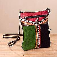 Leather sling, 'Llama in the Mountains' - Llama-Themed Multicolored Leather Sling from Peru