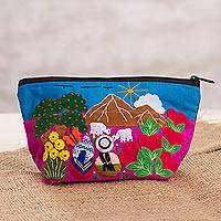 Cotton blend coin purse, 'Andean Vista' - Cotton Blend Patchwork Coin Purse from Peru