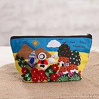 Cotton blend coin purse, 'Andean Day' - Cotton Blend Patchwork Coin Purse from Peru