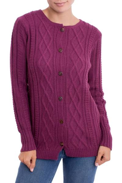 100% alpaca cardigan, 'Sweet Plum' - Knit 100% Alpaca Cardigan in Plum from Peru