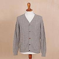 Men's 100% alpaca cardigan, 'Sage Pattern' - Men's Knit 100% Alpaca Cardigan in Sage from Peru