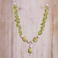 Serpentine and peridot Y-necklace, 'Verdant Combination' - Serpentine and Peridot Beaded Y-Necklace from Peru