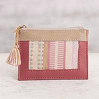 Leather and cotton coin purse, 'Modern Window in Lipstick' - Leather and Cotton Coin Purse in Lipstick from Peru