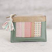 Leather and cotton coin purse, 'Modern Window in Celadon' - Leather and Cotton Coin Purse in Celadon from Peru