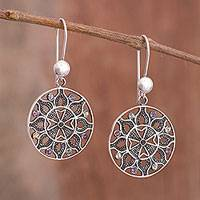 Multi-gemstone filigree dangle earrings, 'Universal Center' - Multi-Gemstone Filigree Dangle Earrings from Peru