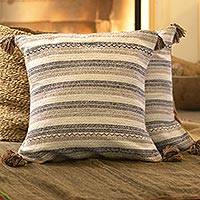 Cotton cushion covers, 'Dunes of Ica' (pair) - Striped Earth-Tone Cotton Cushion Covers from Peru (Pair)