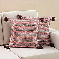Cotton cushion covers, 'Colorful Speckle' (pair) - Striped Colorful Cotton Cushion Covers from Peru (Pair)