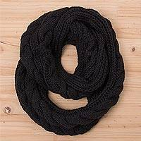 Alpaca blend infinity scarf, 'Black Braid' - Knit Alpaca Blend Wrap Scarf in Black from Peru