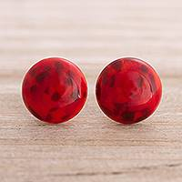 Murano art glass button earrings, 'Red Orbs' - Murano Art Glass Button Earrings in Red from Peru