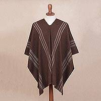 Men's alpaca blend poncho, 'Chic Andes in Coffee' - Men's Alpaca Blend Poncho in Coffee from Peru