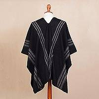 Men's alpaca blend poncho, 'Chic Andes in Black' - Men's Alpaca Blend Poncho in Black from Peru