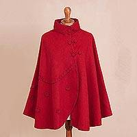 Alpaca blend cape, 'Crimson Traveler' - Floral Alpaca Blend Cape in Crimson from Peru