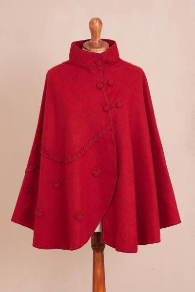 Alpaca blend cape, Crimson Traveler