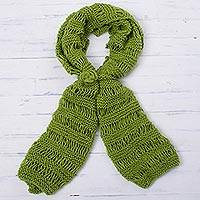 Hand-knit scarf, 'Avocado Style' - Hand-Knit Wrap Scarf in Avocado from Peru