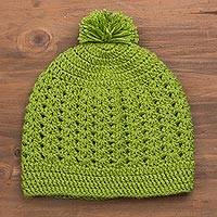Hand-knit hat, 'Avocado Style' - Hand-Knit Hat in Avocado from Peru
