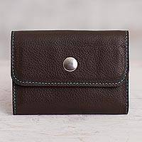 Leather coin purse, 'Sleek Spender' - Espresso Leather Coin Purse Crafted in Peru