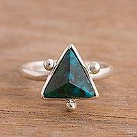 Chrysocolla cocktail ring, 'Green Pyramid' - Chrysocolla Pyramid Cocktail Ring from Peru