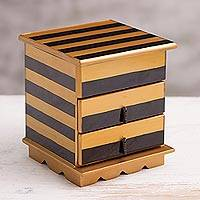 Reverse-painted glass jewelry chest, 'Modern Gleam' - Reverse-Painted Glass Jewelry Chest in Gold and Black