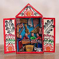 Ceramic mini retablo, 'Sounds of the Andes' - Music-Themed Ceramic Mini Retablo from Peru