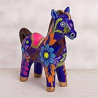 Ceramic figurine, 'Floral Horse in Blue' - Floral Ceramic Horse Figurine in Blue from Peru